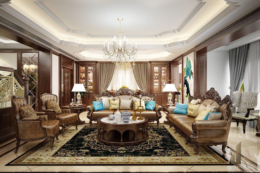 nội thất dinh thự sơn hà 820m2 phòng khách 07