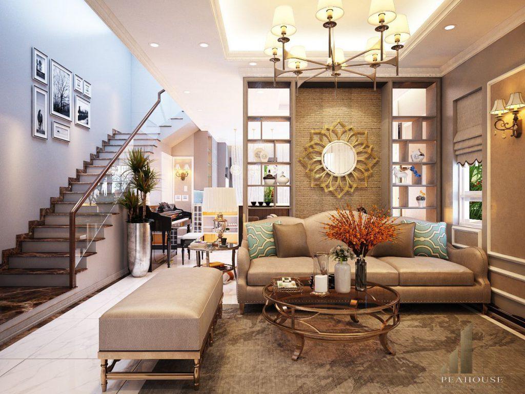 thiết kế nội thất biệt thự 360m2 chị thu phòng khách 01