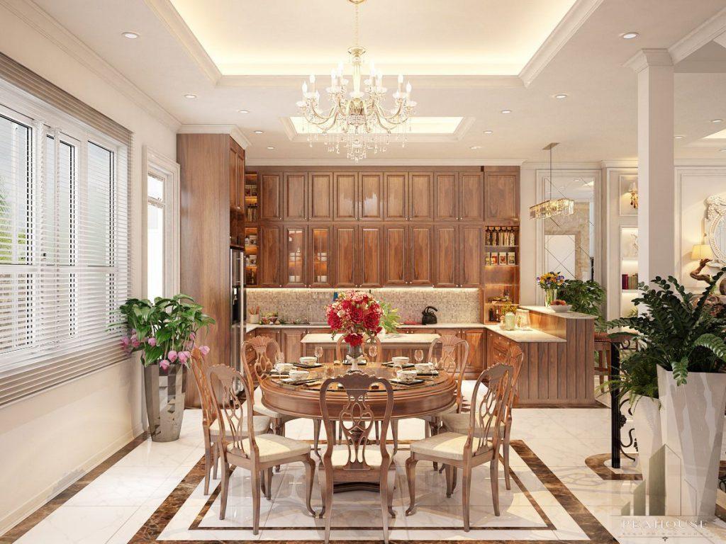 thiết kế nội thất biệt thự 487m2 anh quý phòng bếp 05