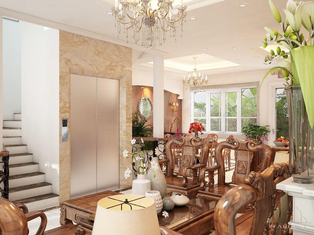 thiết kế nội thất biệt thự 487m2 anh quý phòng khách 19