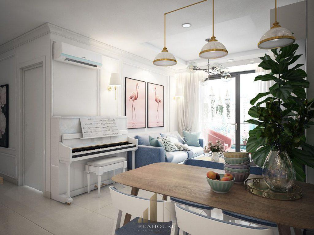 thiết kế nội thất căn hộ gold view 69m2 chị ngọc phòng khách 02