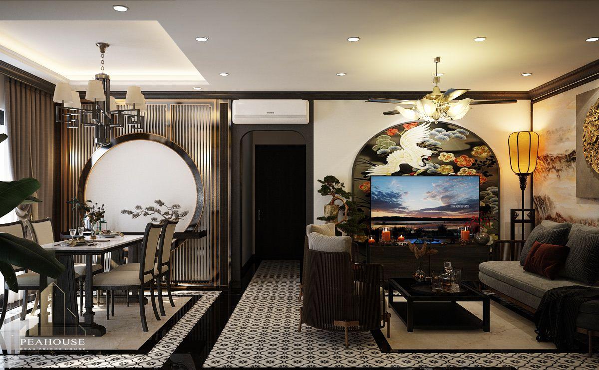 thiết kế nội thất căn hộ river gate phòng khách 06