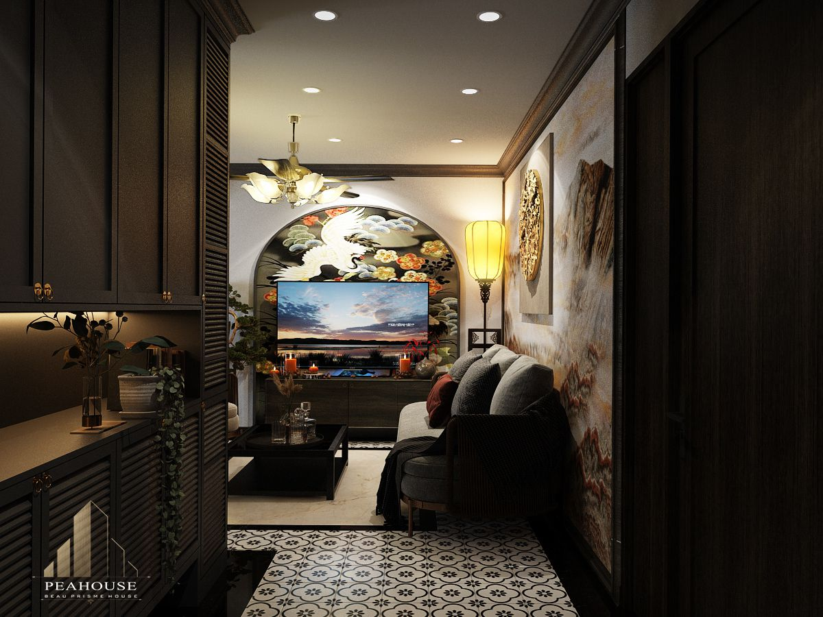 thiết kế nội thất căn hộ river gate phòng khách 08